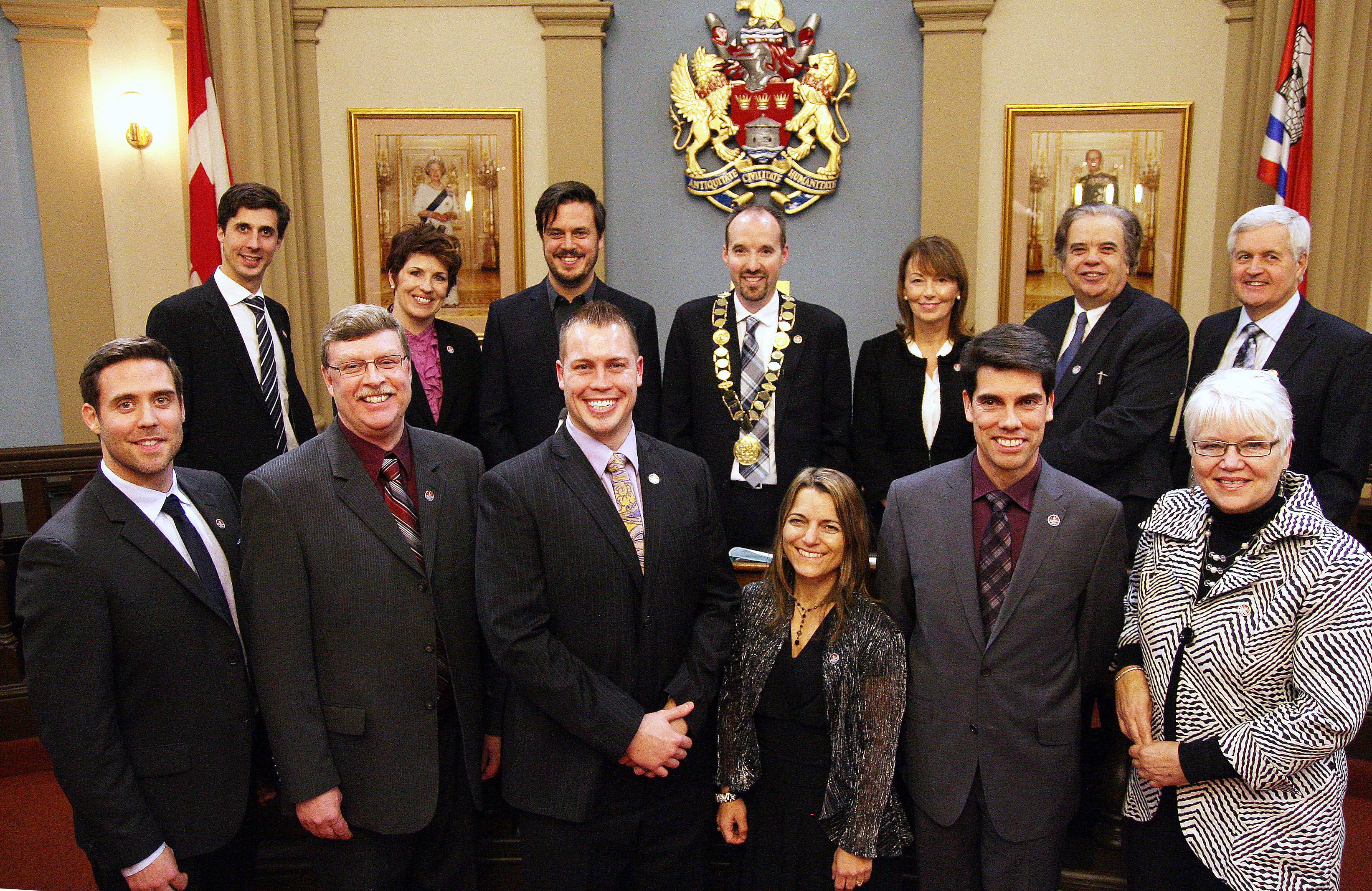 Council - group shot at inaugural council meeting - December 2 2014
