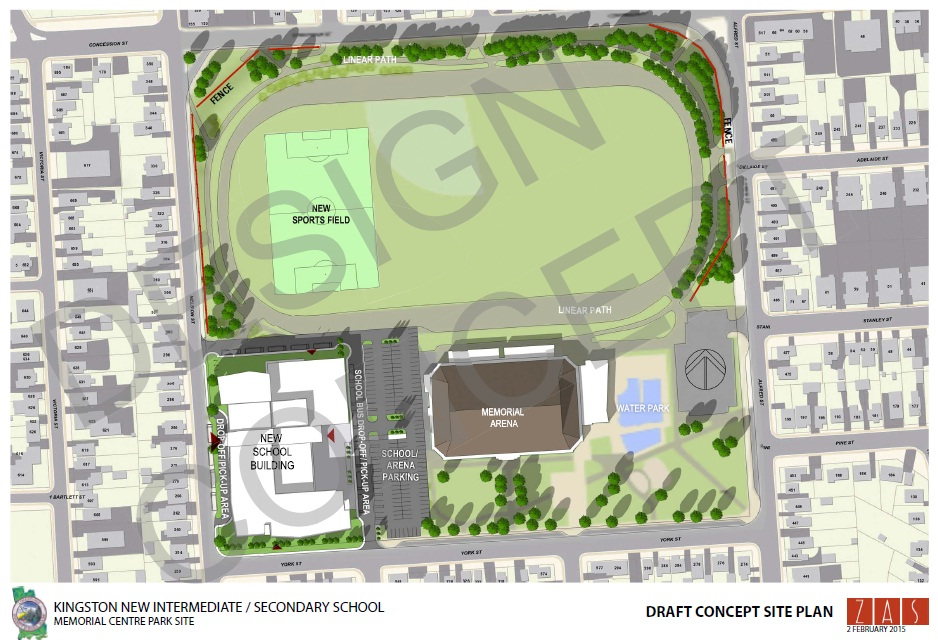 Memorial Centre - high school - draft concept site plan - 2015
